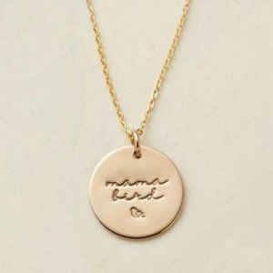 NEW Mama Bird Gold Coin Disc Charm Necklace